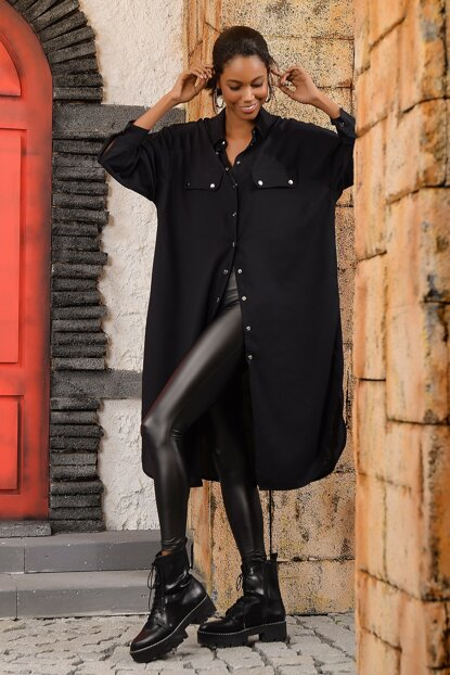 Women's Black Double Pocket Clamshell Snap Long Shirt DNZ-3074