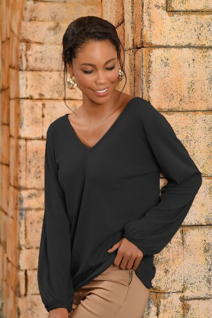Women's Black Front Back V Neck Sweater Blouse ALC-017-166-NE