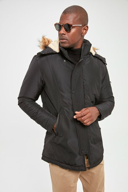 Black Mens Hooded Coat with Front Zipper Pocket TMNAW20KB0176