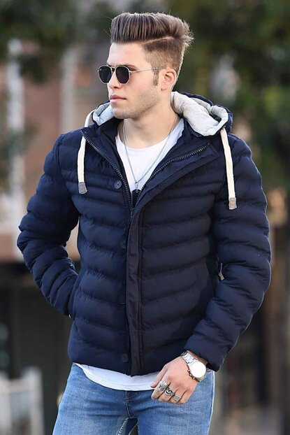 Navy Blue Hooded Inflatable Coat 9026