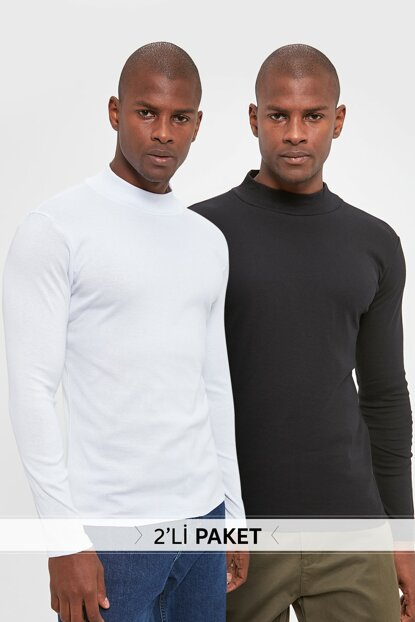 Multicolor Men's 2 Pack Ribana Half Fisher T-Shirt TMNAW20TS0246
