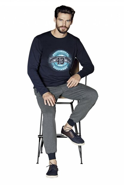 Men's Navy Blue Long Sleeve Pajama Set 5358 5358-