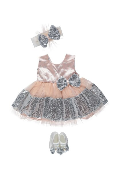 Bow, Sequin 5 Piece Baby Dress Set Salmon PS9870