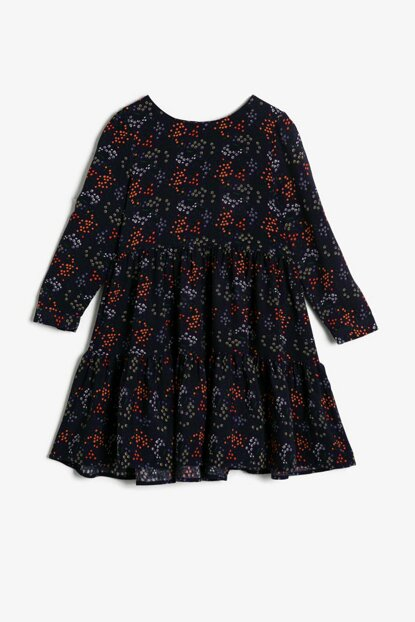 Navy Blue Girls Patterned Dress 0KKG87719OW