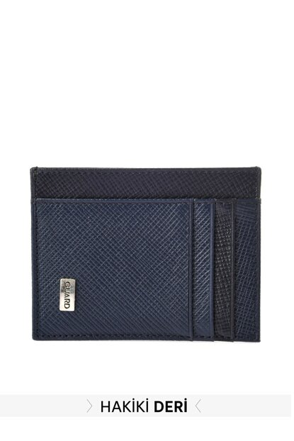 Navy Blue Men Genuine Leather Textured Card Wallet TMNAW20CU0016