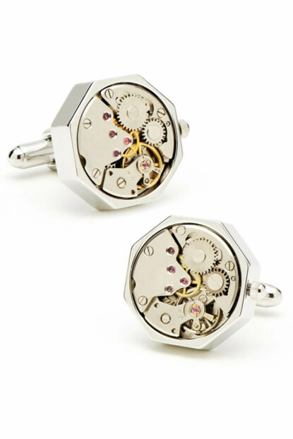 Men's Silver Hexagonal Color Watch Gear Cuff Link Adfrsy57 ADFRSY57