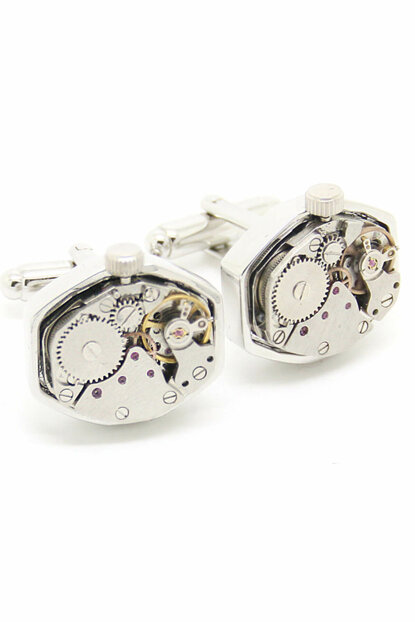 Men's Silver Hexagonal Color Watch Gear Cuff Link Afghmps8 AFGHMPS8