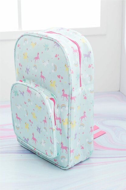 Unicorn Polyester Patterned Bag 29x37x12 Cm Mint - Lilac - Pink 10017847