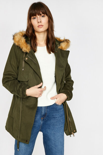 Women's Green Hooded Coat 9KAK08607OW