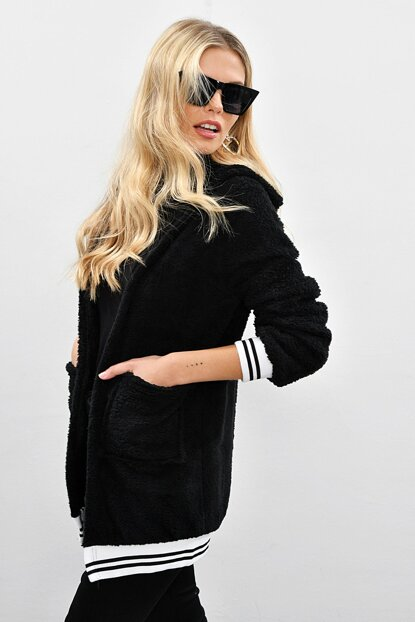Women's Black Hooded Plush Coat SH103