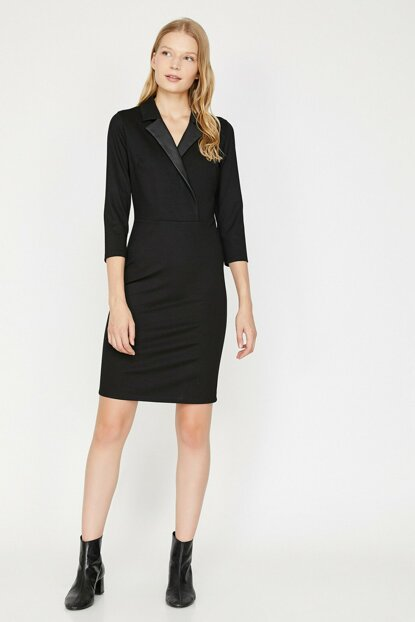 Women's Black V Neck Dress 0KAK86148IK