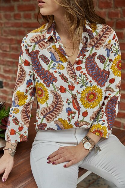 Women's Multi-Handle Fold Patterned Shirt 9YXK2-41738-52