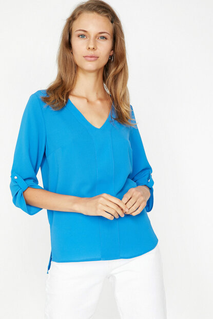 Women's Blue Long Sleeve V Neck Blouse 9KAK68711PW