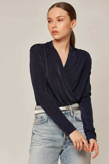 Women's Navy Blue Shoulder Shirred Snaps Double Breasted Blouse 1139 Y19W102-1139