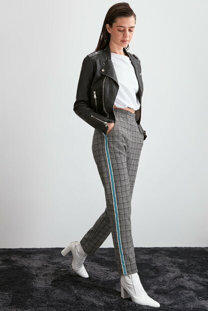 Gray plaid knitted trousers TWOAW20PL0507
