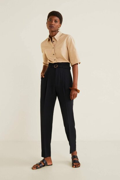 Women Black Belt Straight Trousers 51033705