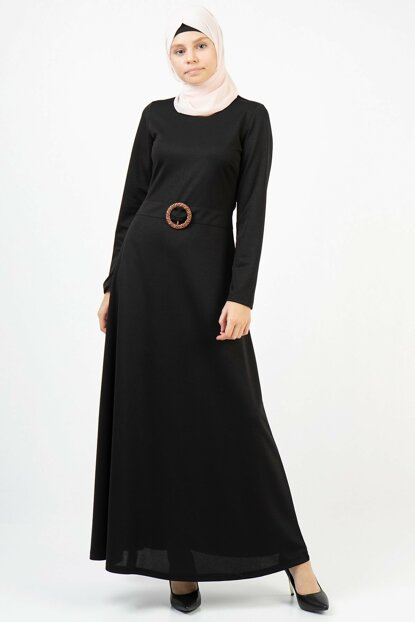 Women's Black Bird's Eye Belt Long Dress 3688/145