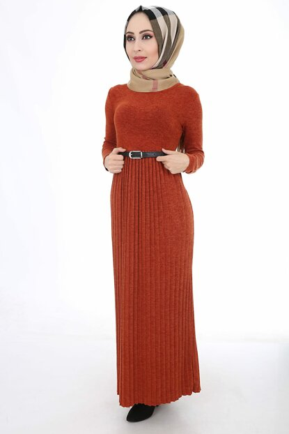 Women's Tile Pleated Belt Sweater Dress 1583BGD19_011