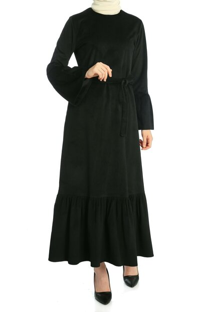 Women Black Skirt And Sleeve Flywheel Dress ELB03214_SYH