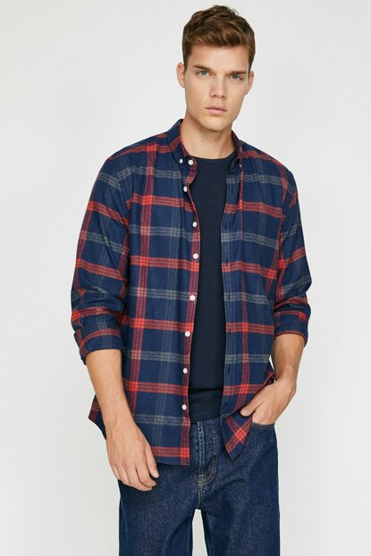 Men's Navy Blue Plaid Shirt 0KAM61951OW