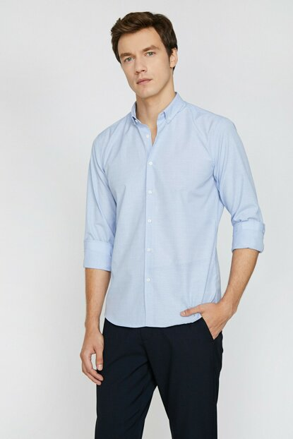 Men's Blue Classic Collar Shirt 0KAM69259NW