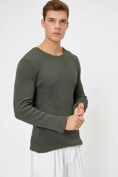 Men's Green Crew Neck Pullover 0KAM99043OT