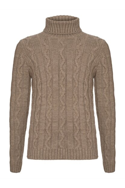 Men's Mink Knit Patterned Turtleneck Sweater 339571
