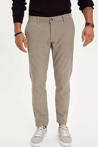 Men's Beige Tailored Fit Trousers M8609AZ.19WN.BG280