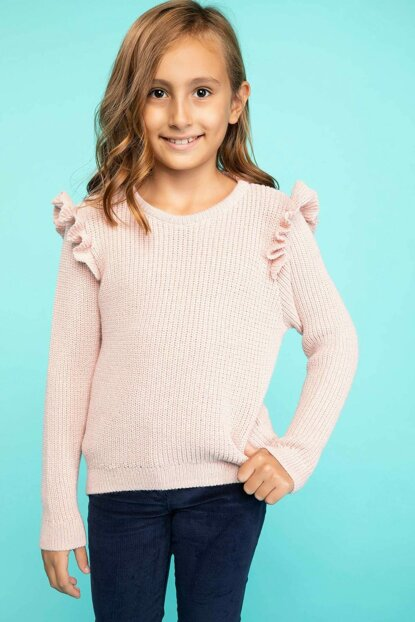 Pink Girls' Ruffle Detail Knitwear Sweater J0649A6.18WN.PN113