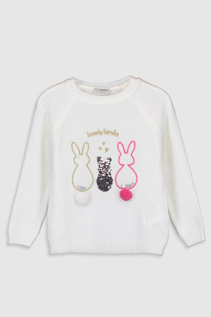 Girl's Ecru Fdu Sweater 9WP534Z4