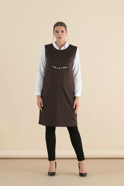 Maternity Sleeveless Dress Coffee 8450
