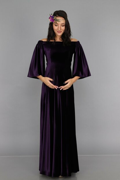 Low Shoulder Velvet Maternity Dress Purple ML010900X