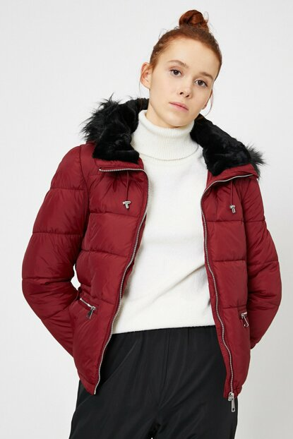 Women Maroon Faux Fur Detail Coat 0KAL08215OW