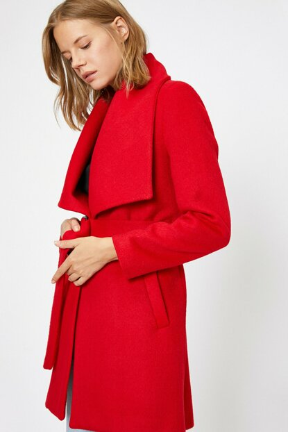Women Red Belt Detail Coat 0KAK06596IW
