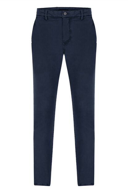 Men's Navy Blue Cotton Slim Pants 356924
