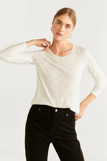 Women's Solid White Casual Flecked Long Sleeve T-Shirt 57045929