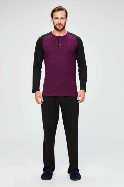 Men's Plum Long Sleeve Pajamas Set Dge10220 E0218K0045