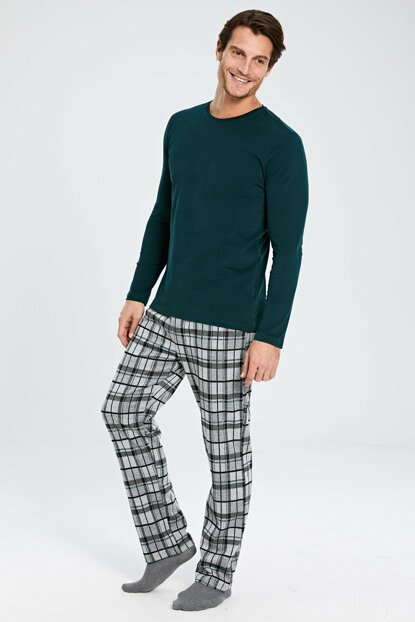 Men's Green Plaid Pajamas Set 9WK701Z8