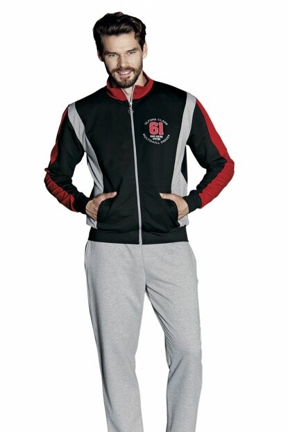 Men's Black Zippered Long Sleeve Pajama Set 5354-