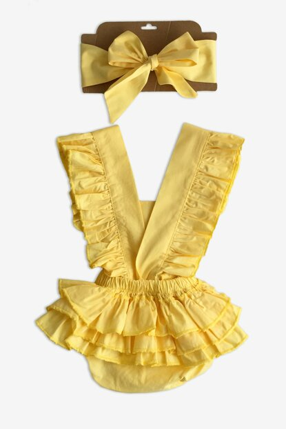 Yellow Frilly Salopet Set / 18-24 Months TKM-0033
