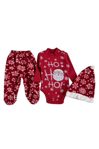 Red Baby Boy Ho Ho Ho Written Christmas Outfit 16909
