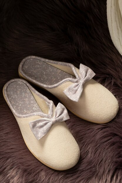 Women's Bow Slipper - Beige 1KTERL0326-8682116106498