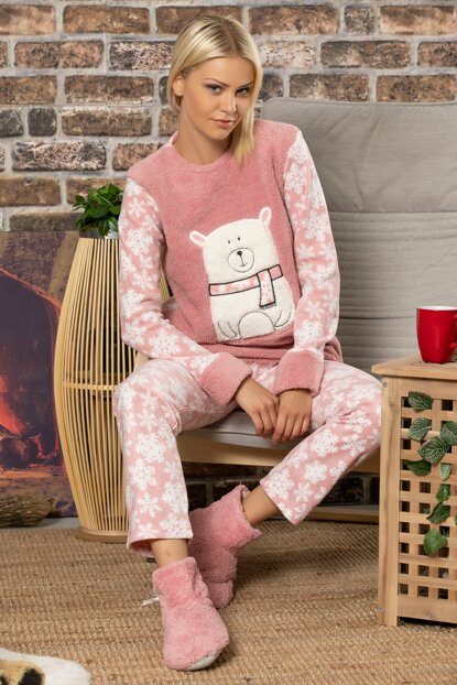 Women's Powder Welsoft Embroidered Pajamas Suit 2501
