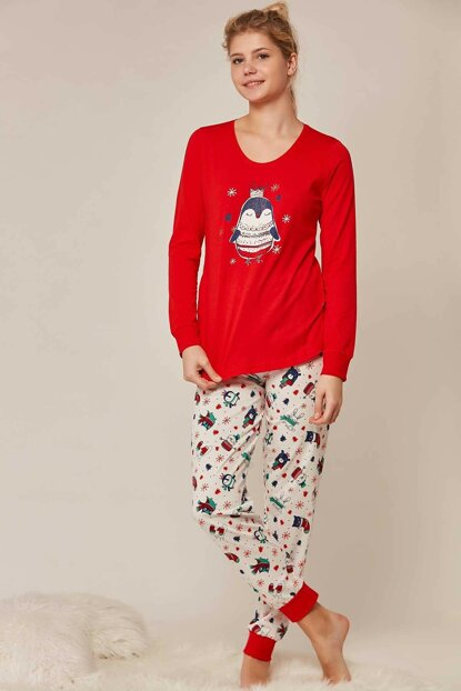 Women's Red Long Sleeve Pajama Set 802104 Y19W137-8021045207