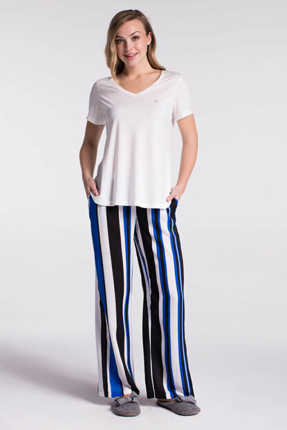 Women's Ecru Striped V-Neck Underwoven Voile 3-Piece Pajamas Set B0218Y0060