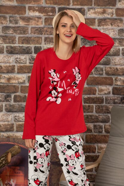Women's Red Cotton Long Sleeve Interlock Sleepwear Suit 23000