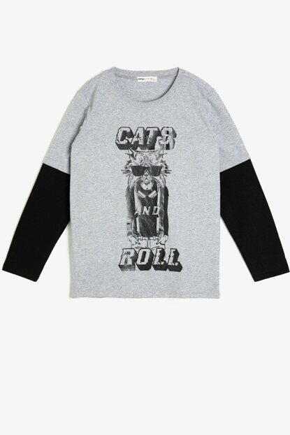 Gray Boy Printed T-Shirt 0KKB16242TK