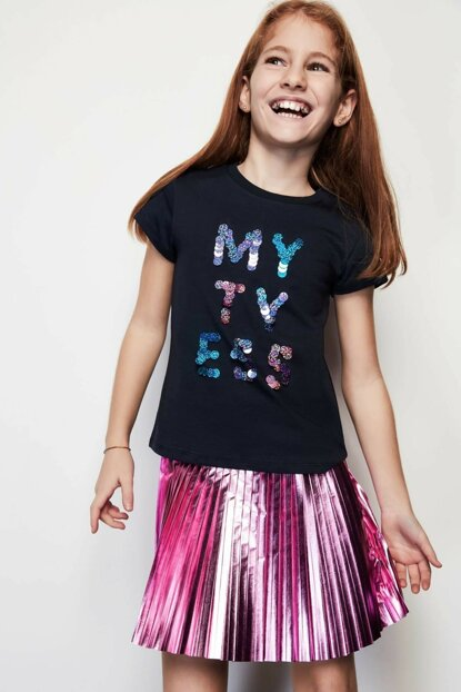 Girls' Blue T-Shirt 19PFWTJ4506