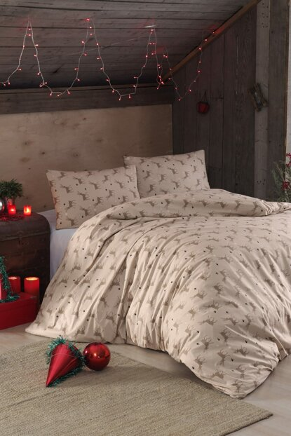 100% Natural Cotton Double Duvet Cover Set Deer Beige 3432v3 Ep-018501