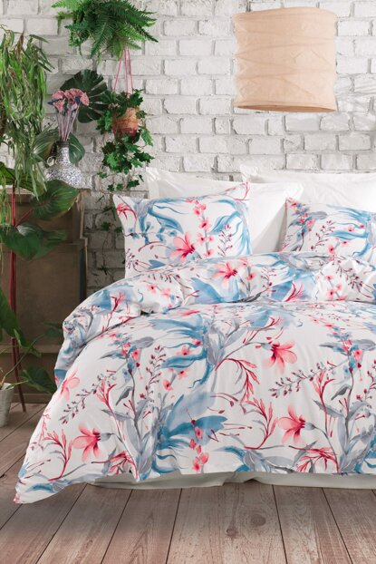 100% Natural Cotton Single Size Duvet Cover Set Doris White Ep-018734